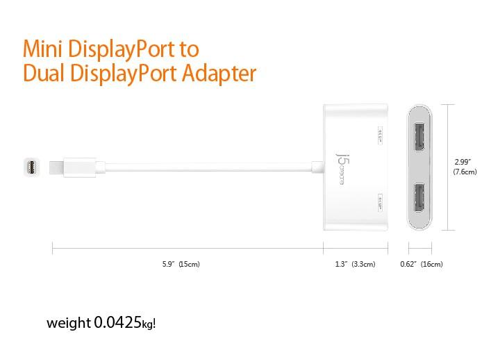 Buy the J5create Mini DisplayPort to Dual DisplayPort MST